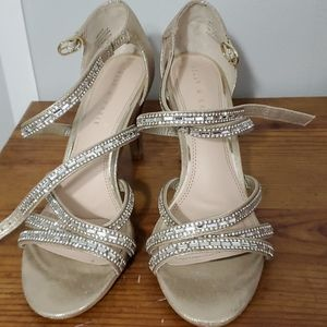 Gold silver jewel bling strappy sandals
